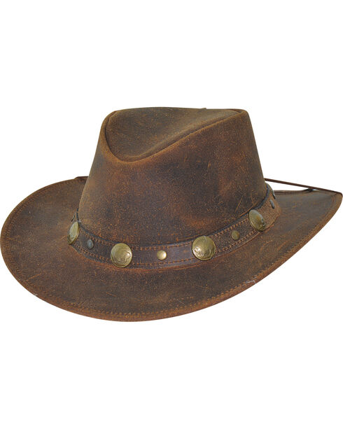 Bullhide Men's Brown Crackled Leather Hat , Brown, hi-res