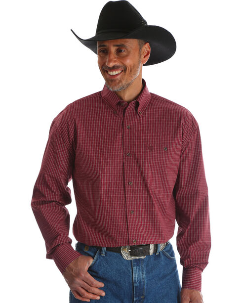 Wrangler Men's Red George Strait Button Down Print Shirt , Red, hi-res
