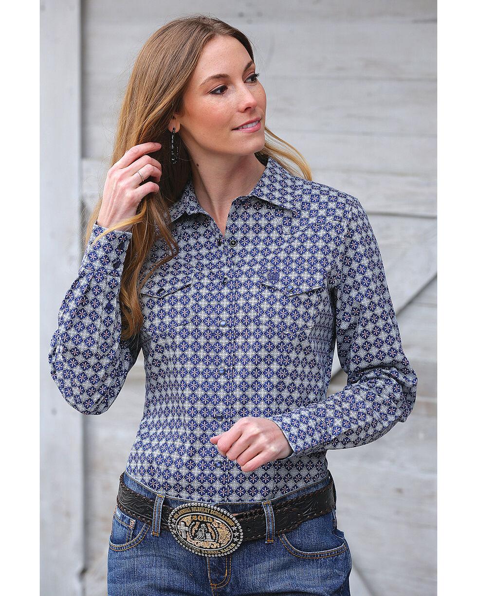 Cinch Women's Blue Geometric Print Western Shirt , Blue, hi-res