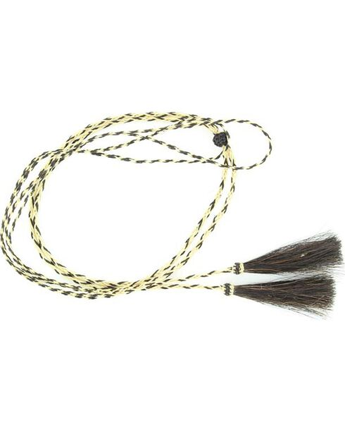 Blonde & Black Braided Horsehair Tassels Stampede String, Natural, hi-res