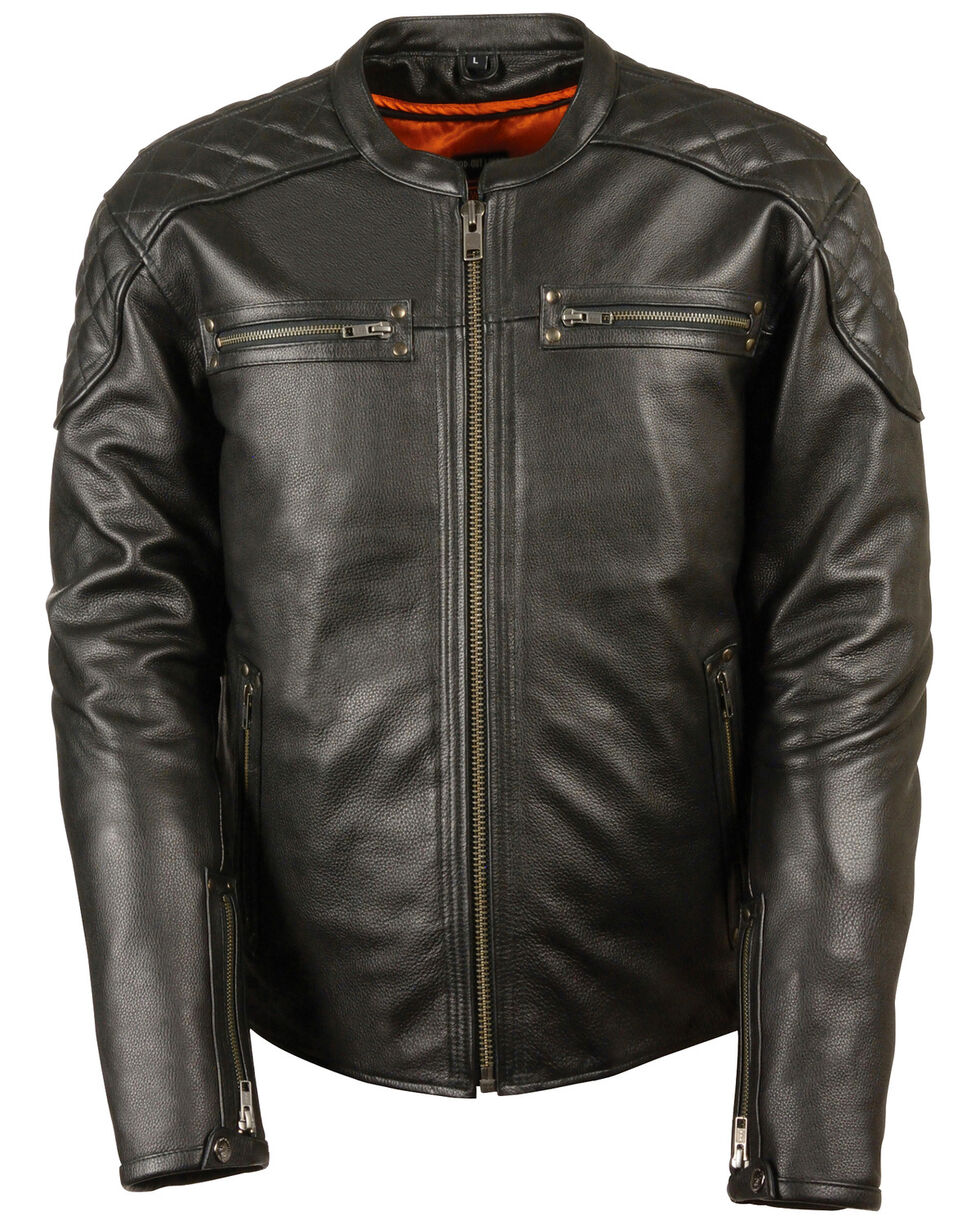Milwaukee Leather Men's Full Side Lace Vented Scooter Jacket - 5X, Black, hi-res