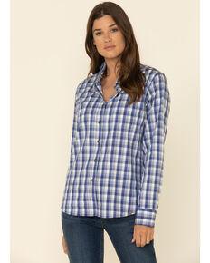 Wrangler Riggs Women's Blue Plaid Long Sleeve Work Shirt, Blue, hi-res