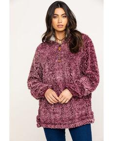 Katydid Women's Wine Sherpa Zip Up Pullover, Burgundy, hi-res