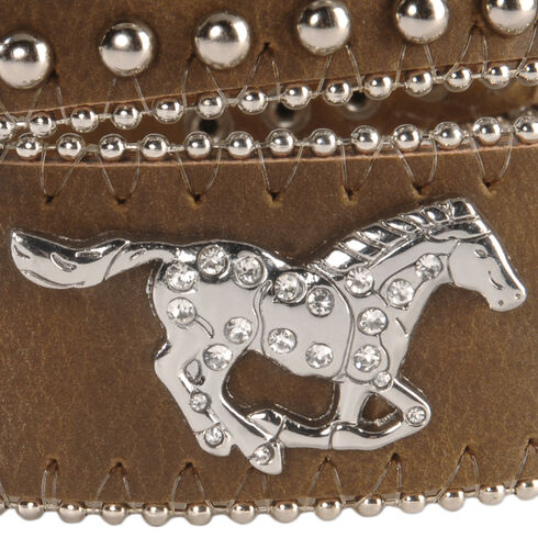 Nocona Girls' Brown Rhinestone Leather Belt - 18-28, Brown, hi-res