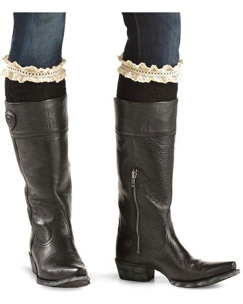 Blazin Roxx Black with Crocheted Lace Knee-High Socks, Black, hi-res