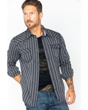 Moonshine Spirit Men's Plaid Print Western Short Sleeve Shirt, Blue, hi-res