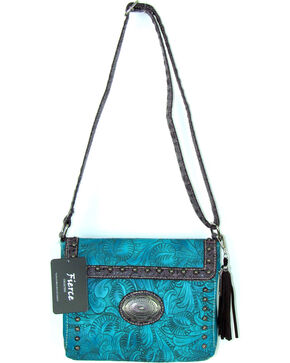 Savana Women's Fierce Tooled Croco Trim Crossbody Purse , Turquoise, hi-res