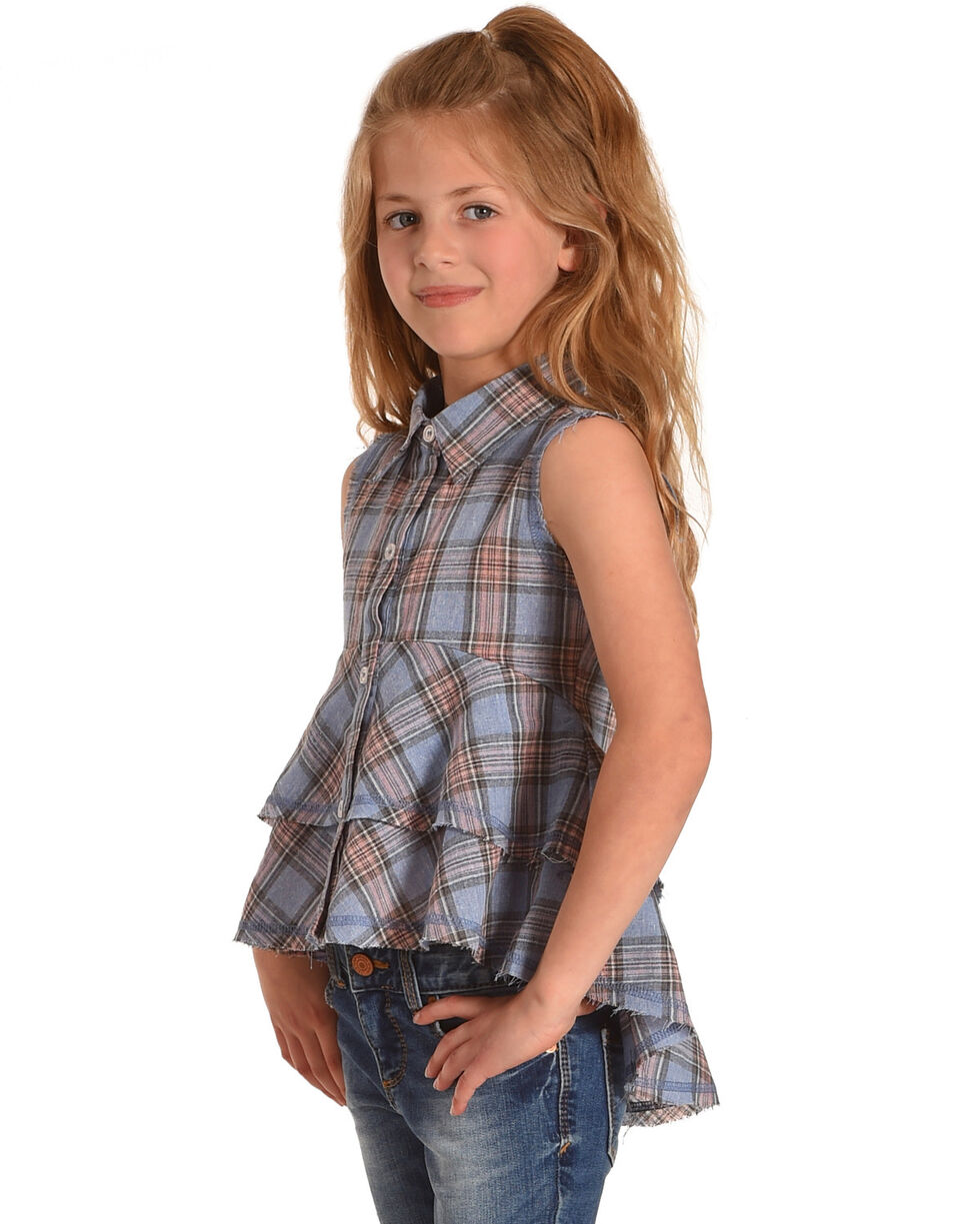 Idol Mind Girls' Blue Plaid Studded Frilly Shirt, Blue, hi-res