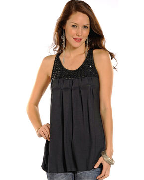 Rock & Roll Cowgirl Women's Black Sleeveless Pleated Tank , Black, hi-res