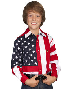 Scully Boys' American Flag Shirt, Red, hi-res