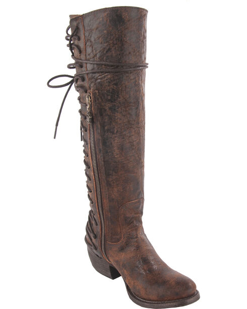 Junk Gypsy by Lane Women's Idlewood Tall Lace Up Boots - Round Toe, Wine, hi-res