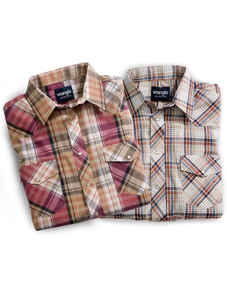 Wrangler Men's Assorted Plaid & Striped Short Sleeve Western Shirts - Big & Tall, Stripe, hi-res