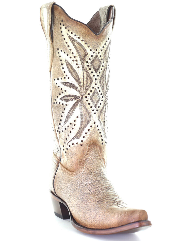 Circle G Women's Straw Laser & Embroidery Western Boots - Snip Toe, Natural, hi-res