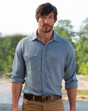 Ryan Michael Men's Tri Color Chevron Shirt , Blue, hi-res