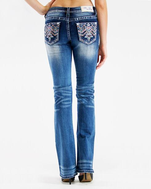 Grace in LA Women's Low Rise Aztec Embroidered Jeans - Boot Cut, Indigo, hi-res