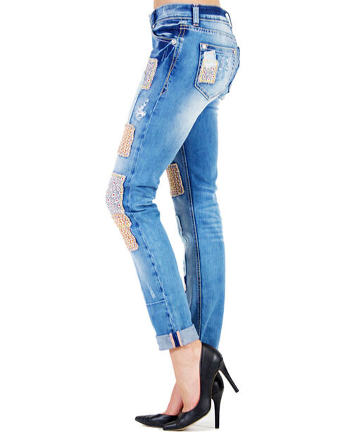 Grace in LA Women's Patched Skinny Jeans, Indigo, hi-res