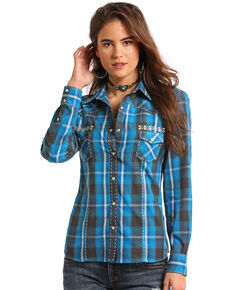 653a0ee1 Panhandle White Label Womens Plaid Long Sleeve Western Shirt, Blue, hi-res