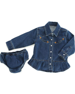 Wrangler Infant Girls' Blue Denim Western Shirt & Bloomer Set , Blue, hi-res