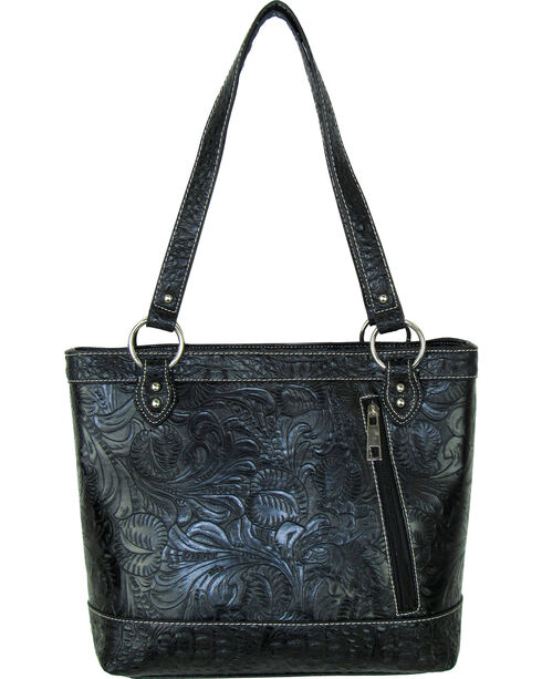 Savana Black Tooled Conceal Carry Buckle Purse , Black, hi-res