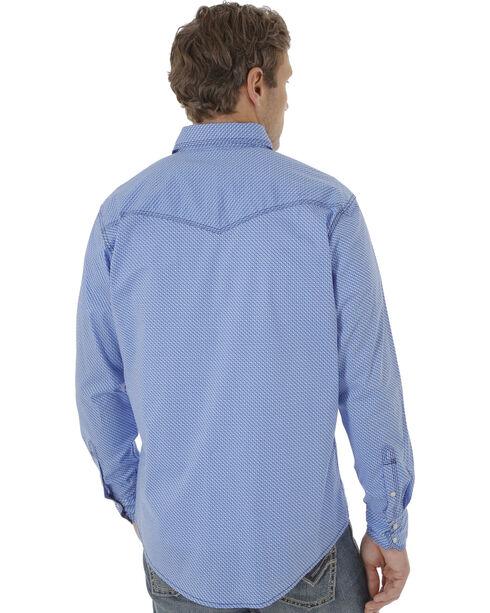 Wrangler 20X Men's Blue Poplin Print Snap Western Shirt, Blue, hi-res