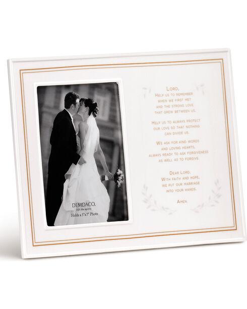 Demdaco White Wedding Prayer Ceramic Frame , White, hi-res