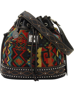Bandana by American West Black Canyon Drawstring Bucket Bag, Black, hi-res