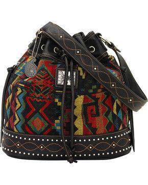 Bandana by American West Black Canyon Drawstring Bucket Bag, Black, hi-res