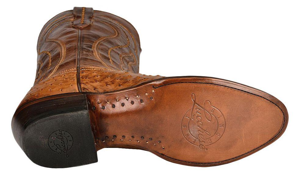 Lucchese Handmade 1883 Full Quill Ostrich Montana Cowboy Boots - Medium Toe, Tan, hi-res