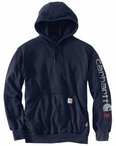 Carhartt Men's Navy FR Force Midweight Signature Logo Hooded Work Sweatshirt , Navy, hi-res