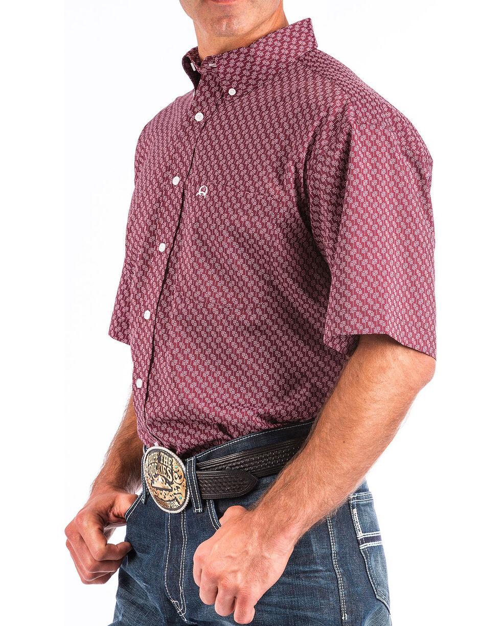 Cinch Men's ArenaFlex Burgundy Print Short Sleeve Button Down Shirt , Burgundy, hi-res