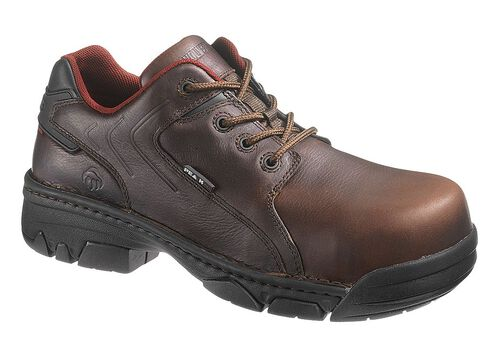 Wolverine Falcon Oxford Work Shoe - Composite Toe, Brown, hi-res