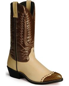 Laredo Men's Lizard Print Wingtip Cowboy Boots, Bone, hi-res