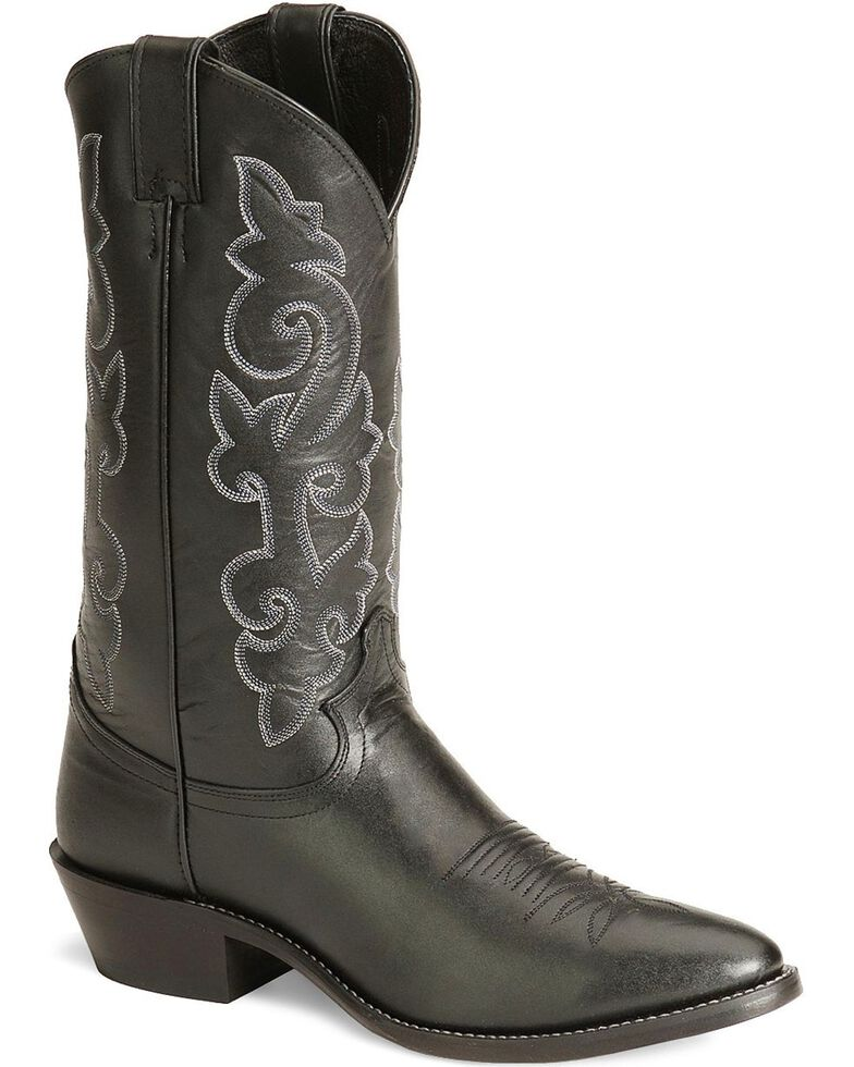 Justin London Calfskin Cowboy Boots - Medium Toe, Black, hi-res