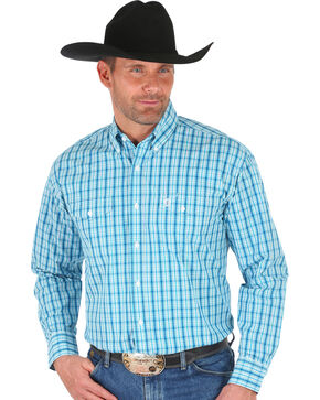 Wrangler George Strait Teal Plaid Western Shirt , Teal, hi-res