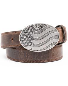 Cody James Men's Brown American Flag Oval Western Buckle Belt , Brown, hi-res