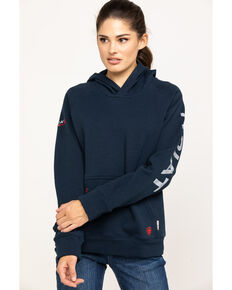 Ariat Women's Navy FR Primo Fleece Logo Hoodie, Navy, hi-res