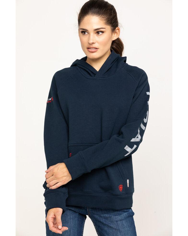Ariat Women's Navy FR Primo Fleece Logo Hoodie, Navy, hi-res