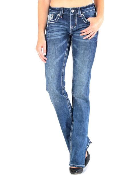 Grace in LA Women's Aztec Tribal Pocket Jeans - Boot Cut , Dark Blue, hi-res