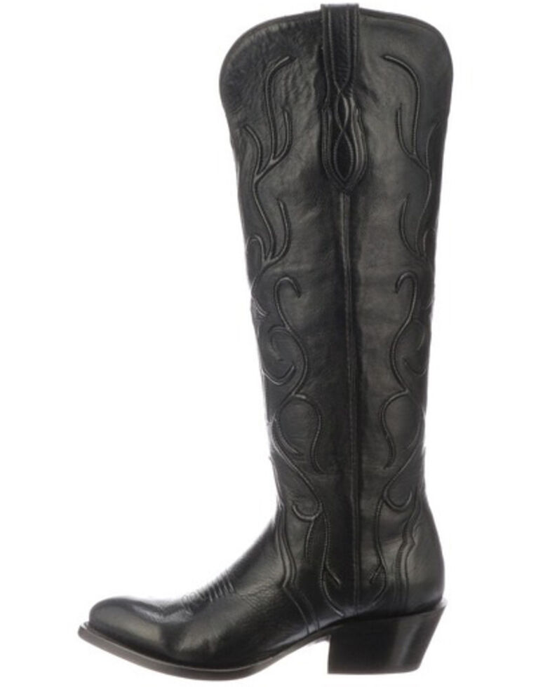 Lucchese Women's Peri Western Boots - Round Toe, Black, hi-res