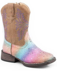 Roper Toddler Girls' Rainbow Glitter Western Boots - Square Toe, Tan, hi-res