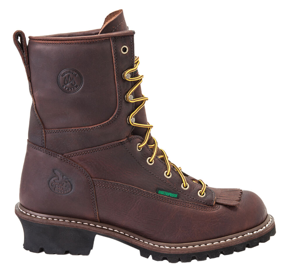 Georgia Waterproof Logger Boots - Steel Toe, Chocolate, hi-res