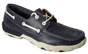 Twisted X Driving Blue Lace-Up Moccasin Shoes - Round Toe, Blue, hi-res