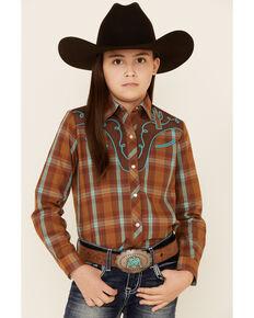 Roper Girls' Rust Plaid Fancy Applique Long Sleeve Snap Western Shirt , Brown, hi-res