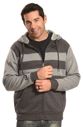 Hooey Men's Men's Zip-Up Grey Stripe Hoodie  , Grey, hi-res