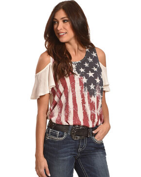 Others Follow Women's Old Glory Cold Shoulder Top , Red/white/blue, hi-res