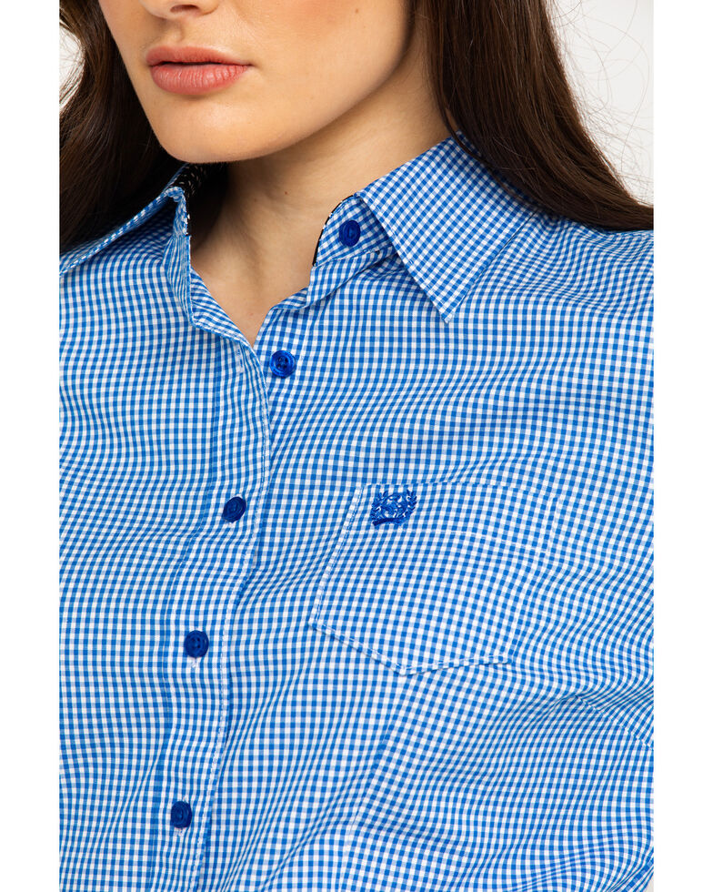 a1ab08ac Zoomed Image Cinch Women's Small Plaid Logo Button Front Long Sleeve  Western Shirt , Royal Blue, hi