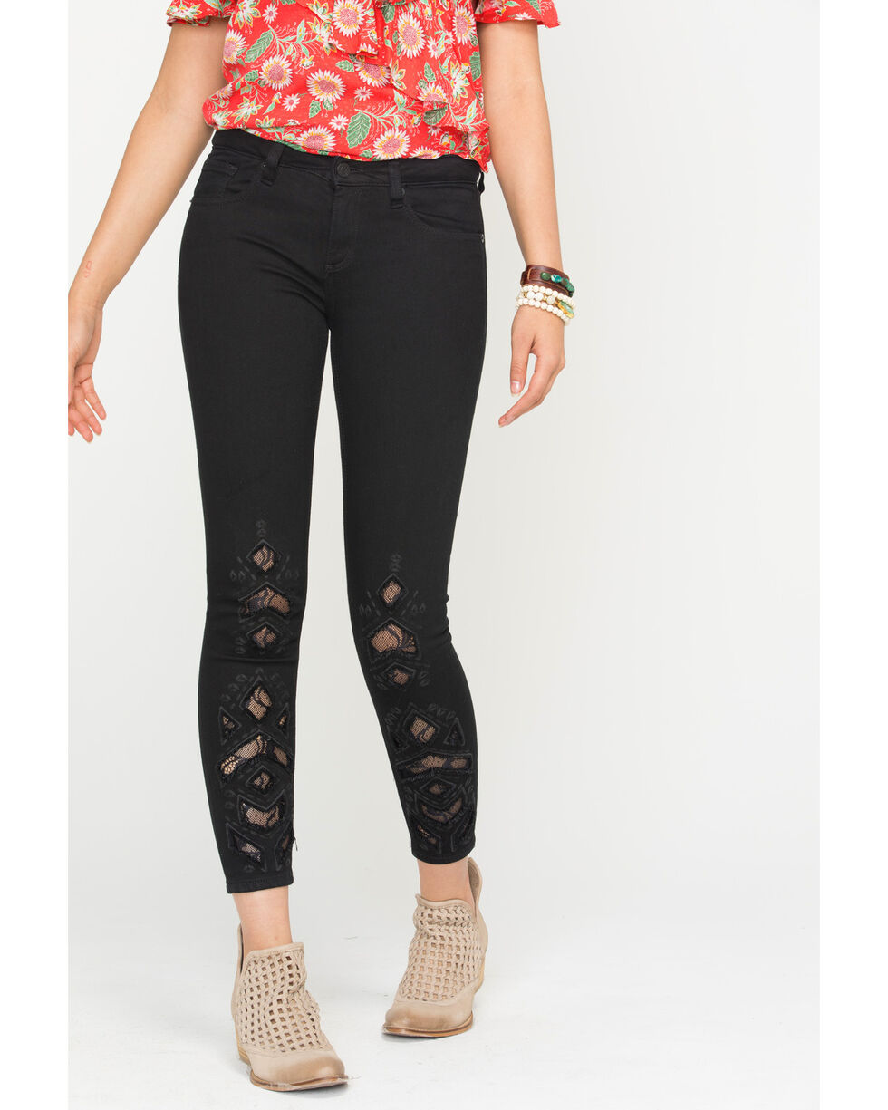 Miss Me Women's Strike A Post Mid-Rise Ankle Skinny Jeans, Black, hi-res