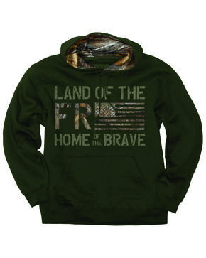 Buck Wear Men's Freedom Flag Hooded Pullover Sweatshirt , Forest Green, hi-res