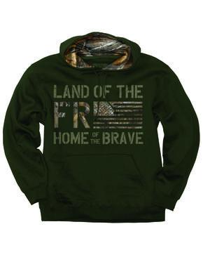 Buck Wear Men's Freedom Flag Hooded Pullover Sweatshirt - Big , Forest Green, hi-res