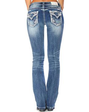 Grace in LA Women's Blue Embellished Flap Pocket Jeans - Boot Cut , Blue, hi-res